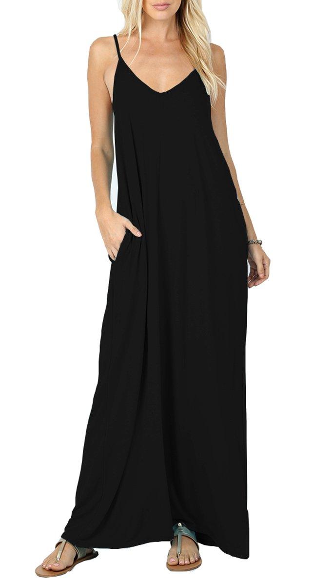 LILBETTER Women V-neck Spaghetti Strap Boho Long Maxi Dresses (M, Black)