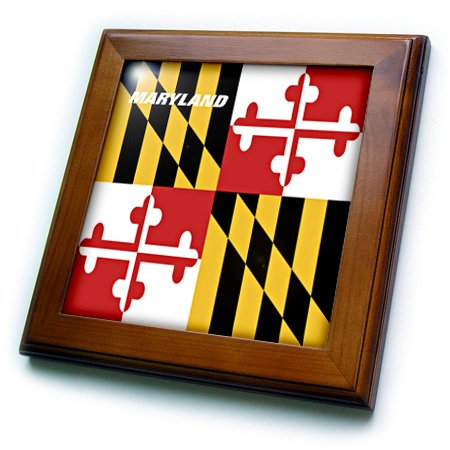 3dRose ft_45066_1 State Flag of Maryland-Framed Tile Artwork, 8 by 8-Inch