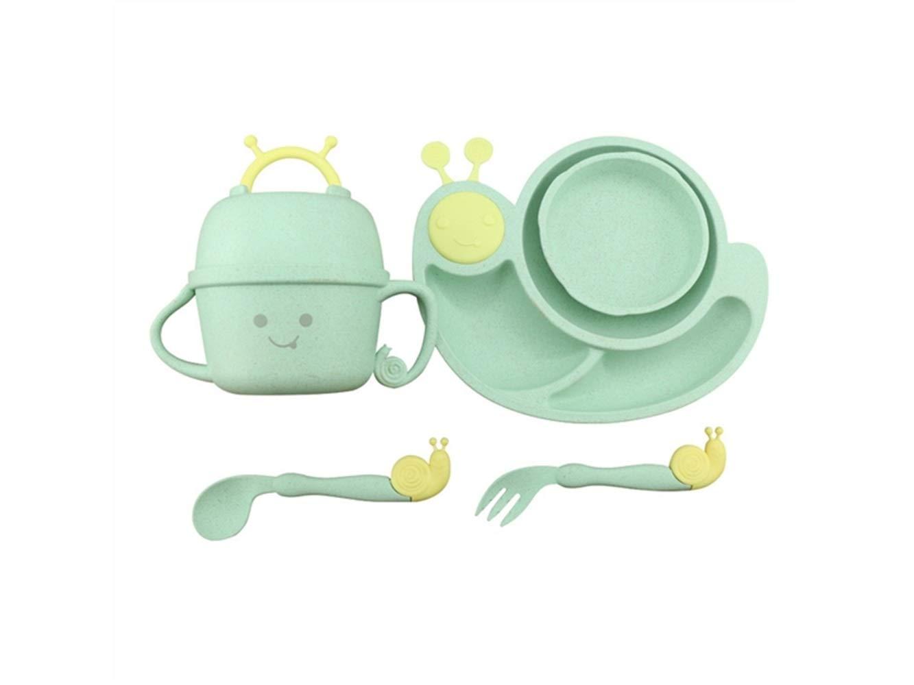 Rutschfest Weizen Faser Schnecken Form Gericht Kinder Schüssel Kinder Separate Schüssel Set für Suppe oder Reis (grün) für Kinder