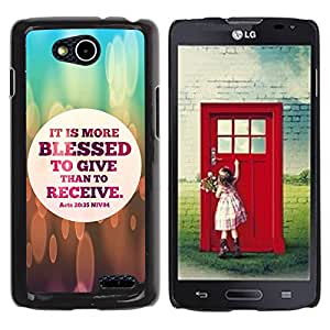 Paccase / SLIM PC / Aliminium Casa Carcasa Funda Case Cover para - BIBLE It Is More Blessed To Give Than To Receive2 - Acts 20:35 - LG OPTIMUS L90 / D415