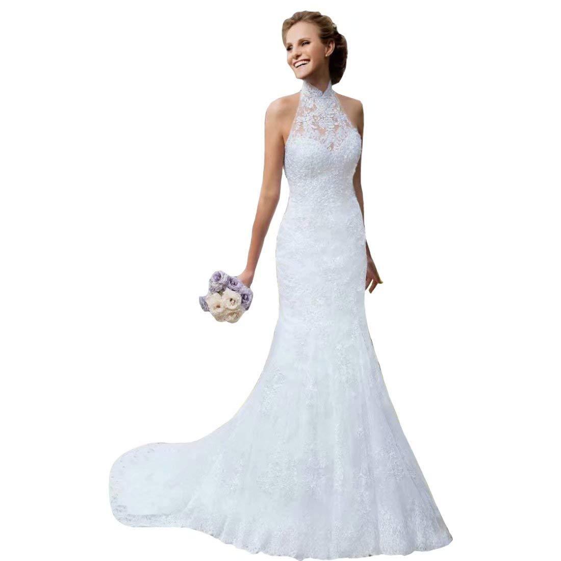 Dingdingmail Vintage Lace Mermaid Wedding Dresses 2019 High