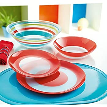 Luminarc  Simply Colors  Unbreakable Tempered Glass 19-pcs Dinnerware Set Red colored & Amazon.com | Luminarc