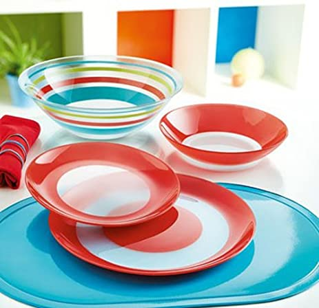 Luminarc u0026quot;Simply Colorsu0026quot; Unbreakable Tempered Glass 19-pcs Dinnerware Set Red & Amazon.com | Luminarc