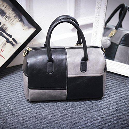 Utile Noir à et bandoulière Belle pratique gris léger joli avec et Plaid classique Femme sac pompon grand tendance capacité sac à main ZqxEHTnBw5