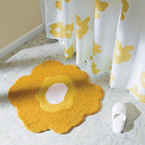 InterDesign Microfiber Poppy Floral Accent Rug for Bedroom and Bathroom - Yellow/White