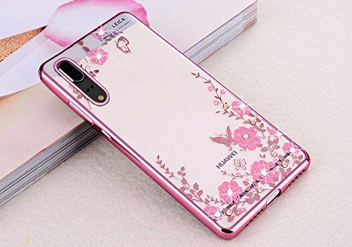 Funda para Huawei P20, diseñ o de mariposas amarillas con cristales brillantes y diamantes de imitació n, marco chapado en oro de goma transparente, carcasa de silicona TPU suave y protectora, para Huawei P20 ikasus