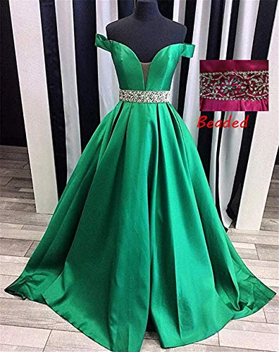 Homdor Beaded Off Shoulder Prom Dress A-Line Satin Evening Formal Gown for Women