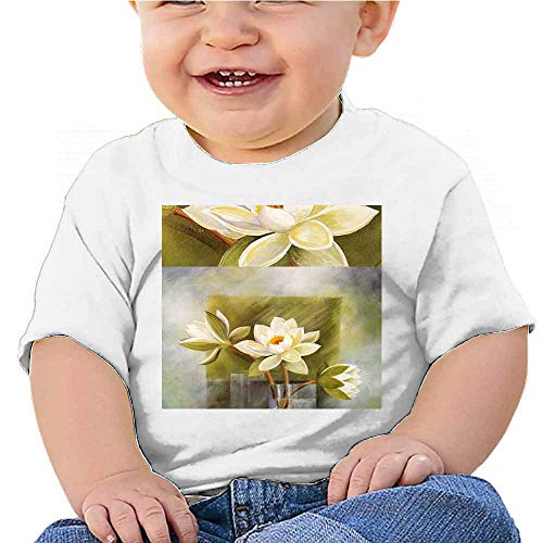 Printed Short Sleeve Abstract Flower Oil Painting (2) Tee for Boys White
