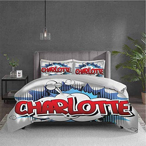 Dolores Edmund Charlotte Extra Large Quilt Cover Female Name with French Origins in Retro Cartoon Design Explosion Effect and Dots Can be Used as a Quilt Cover-Lightweight (Queen) Multicolor