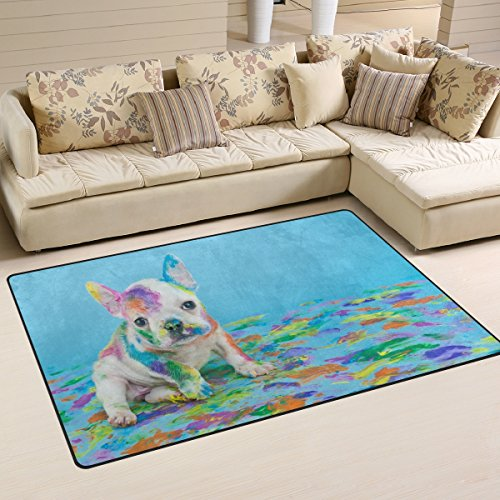 3' X 5 Bulldog (Naanle Cute Animal Area Rug 3'x5', Little French Bulldog Polyester Area Rug Mat for Living Dining Dorm Room Bedroom Home Decorative)