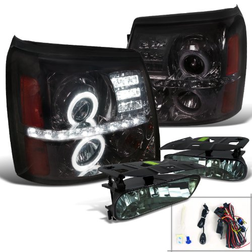 Cadillac Escalade Crystal Smoke LED Halo Projector Headlights+Fog Lights (Crystal Hyper White Bulbs)