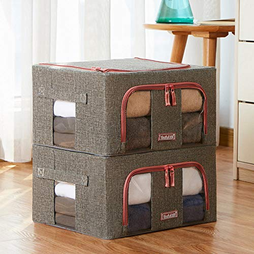 Crushed Hemp - Crazy nuts Foldable Oxford Cloth Storage Box Clothes Fabric Steel Frame Clothing Storage Box Two Loaded @Crushed Hemp - Dark Grey