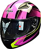 Vega Helmets Mach 2.0 JR Kids Youth Motorcycle Helmet – DOT Certified Full Face Motorbike Helmet for Cruisers Sports Street Bike Scooter Touring Moped Moto with Slinger Graphics (Pink, Small)