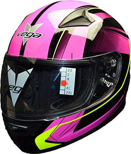 Vega Helmets Mach 2.0 JR Kids Youth Motorcycle Helmet - DOT Certified Full Face Motorbike Helmet for Cruisers Sports Street Bike Scooter Touring Moped Moto with Slinger Graphics (Pink, Medium) ()