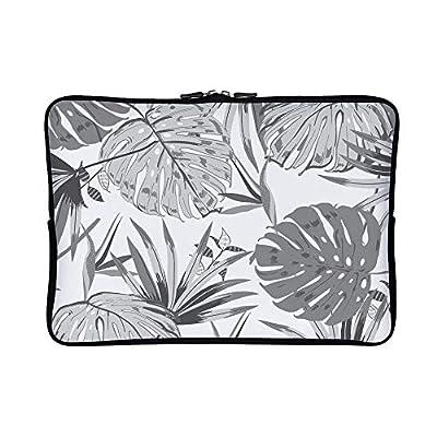 DKISEE Abstract Black and White Banana Leaves Neoprene Laptop Sleeve Case Waterproof Sleeve Case Cover Bag for MacBook/Notebook/Ultrabook/Chromebooks