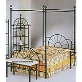 Black sunburst Design Queen Size Canopy Bed Headboard Footboard Canopy