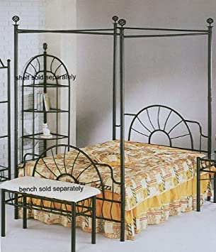 black sunburst design queen size canopy bed headboard footboard canopy - Bed Frame For Headboard And Footboard