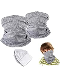 Kids Neck Gaiter Face Mask Bandana with Filter Tube Scarf Balaclava Face Cover for Boys Girls Outdoor Sport