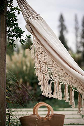 Garden and Outdoor RISEON Handmade Boho Large Brazilian Macrame Fringe 2 Person Double Deluxe Hammock Swing Net Chair for Beach, Yard… hammocks