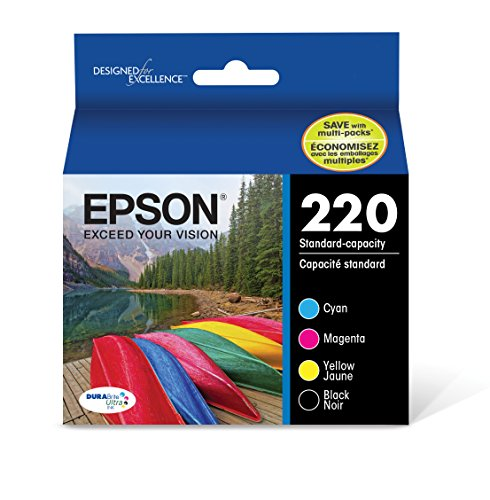 Model Cartridge Magenta Inkjet (Epson T220120-BCS DURABrite Ultra 220 Original Ink Cartridge Combo Pack Black, Cyan, Magenta, Yellow Model - Standard Packaging)