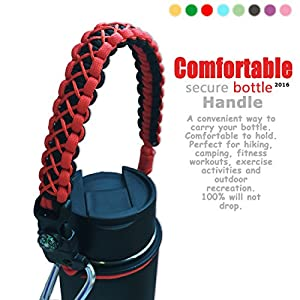 QeeLink Handle for Hydro Flask - Security Design - Wide Mouth Water Bottles Carrier - Includes Paracord Survival Strap with Compass Fire Starter Whistle