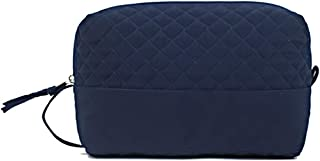 product image for Large Cosmetic Case by Stephanie Dawn, Made in USA, Quilted Cotton Fabric, Lined Interior, Makeup Toiletry Bag (SD Signature Navy)