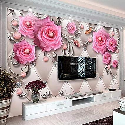 0a28e6308bf Abihua Mural Papel Tapiz Fotográfico Estéreo 3D Flores Flores Suave Rollo  Murales Sala De Estar Tv