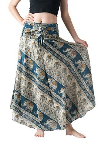 Bangkokpants Women's Long Bohemian Hippie Skirt Boho Dresses Elephant One Size Asymmetric Hem Design (Hippie Elephant Green, Plus Size) -