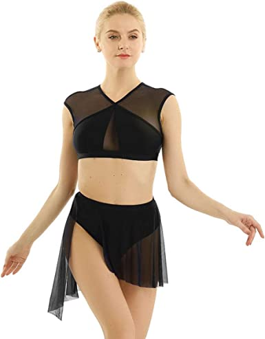 inhzoy Womens Sheer Mesh See Through Lyrical Dance Costume Halter Neck Long Sleeves Leotard Dress