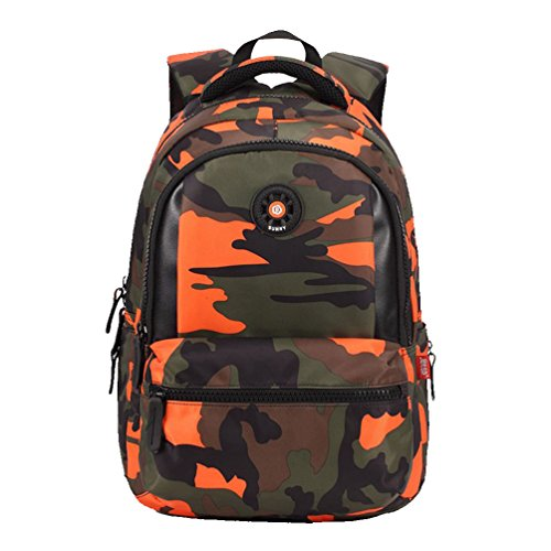 MATMO Camouflage Waterproof School Student Backpack Bag for Boys Pupils Orange S