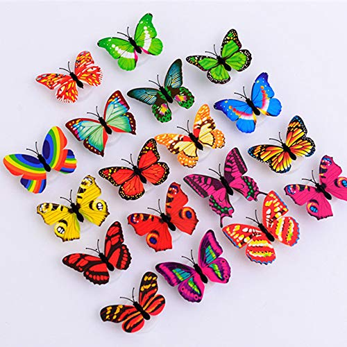 uaswguDFS Colorful Glowing Butterfly Wall Sticker - Removable Mural, Vinyl Decal Art Sticker, Decor for Kids Bedroom or Birthday Gift, Beautiful Wall Decals for Any Room School -