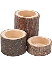 AHANDMAKER Natural Wood Tree Branch Wooden Candle Holder, 2 Set Handmade Tea Light Candlesticks for Special Nights, Events, Dinners, Birthday Parties, Home Decoration