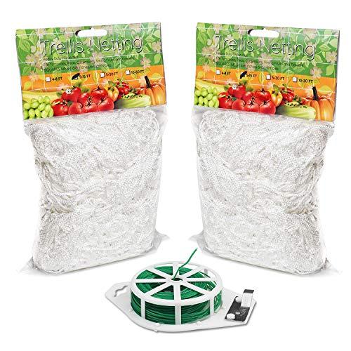 BoHoFarm Plant Trellis Netting 5x15ft 2-Pack Trellis Net Heavy-Duty Polyester Plant Support Vine Climbing Hydroponics Garden Net with/Garden Twine ()