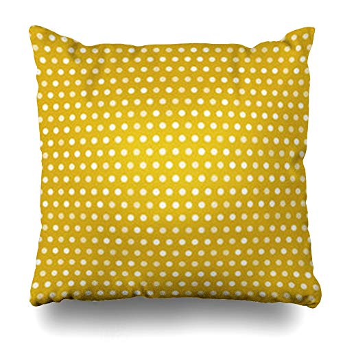 AileenREE Throw Pillow Covers Design Yellow Carpet Gold White Dots Polka Random Opacity Art Abstract Polkadots Pattern Circles Dotted Pillowcase Square Size 16 x 16 Inches Home Decor Cushion Cases (Dotted Knit Dress)