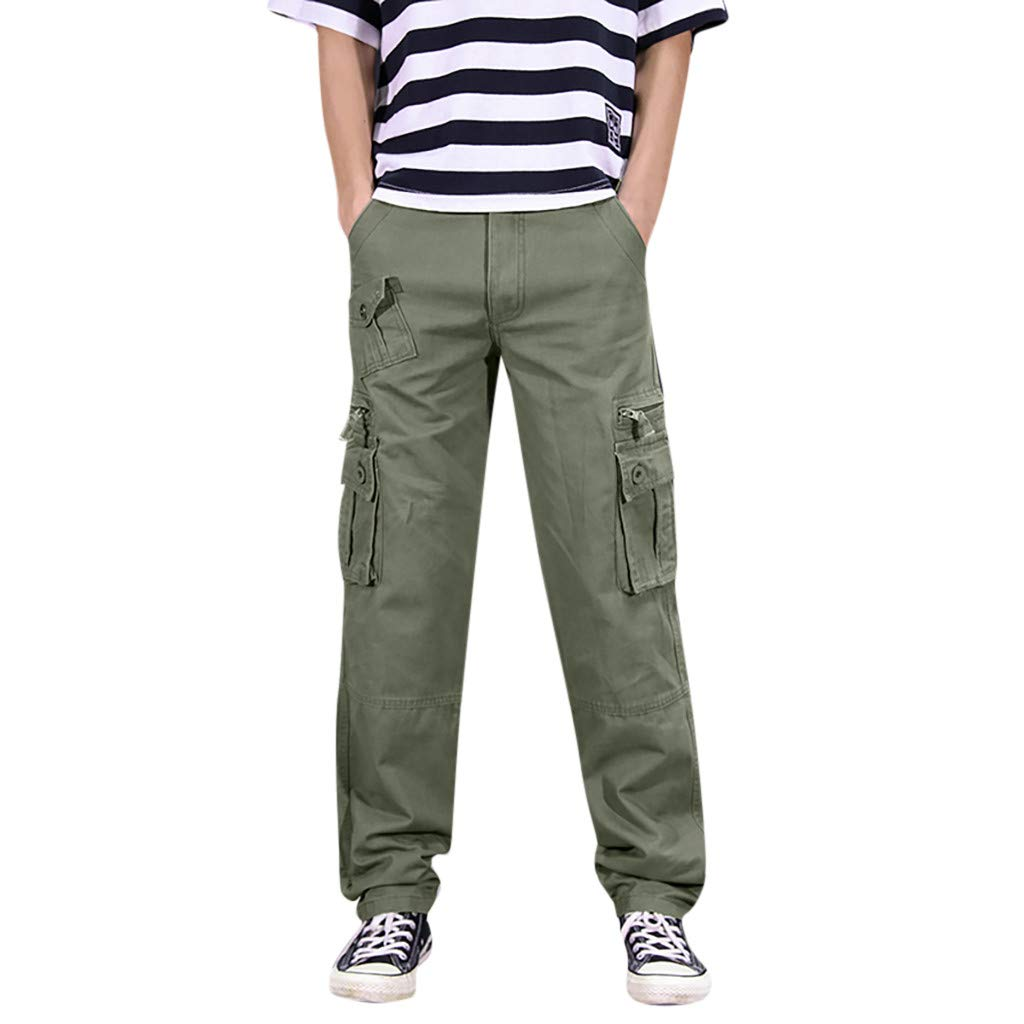Men's Sport Pants Flat-Front Comfort Stretch Chino Pant Flex Waist Cargo Trousers Overalls Army Green