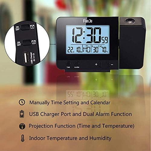 [スポンサー プロダクト]投影時計 温度と時間の投写を伴う投影アラームクロック/USB充電器ポート/室内温度と湿度/スヌーズ機能付きの手動時間調整/カレンダー/ダブルアラーム/12/24時間
