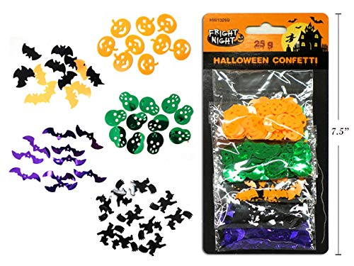 Halloween Party Table Confetti Scatters Decorations - 5 Styles - Pumpkin, Bats, Skulls, Witch on Broom and More - 25 gram Pack