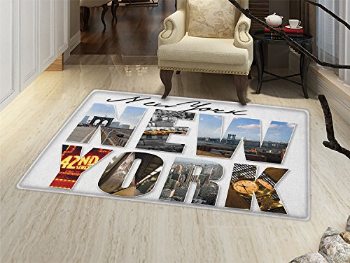smallbeefly New York Door Mats for home New York City Collage Featuring with Different Areas of the Big Apple Manhattan Bath Mat Bathroom Mat with Non Slip Multicolor -