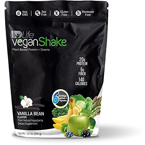 IDLife Vegan Shake (Plant Based Protein & Greens) - Vanilla Bean Flavor - 1.32 Pounds (Shake Replacement Idlife Meal)