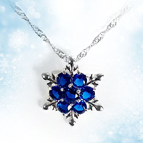 Women Girls Frozen Snowflake Crystal Pendant Necklace Cobalt Blue Pendant for Gift