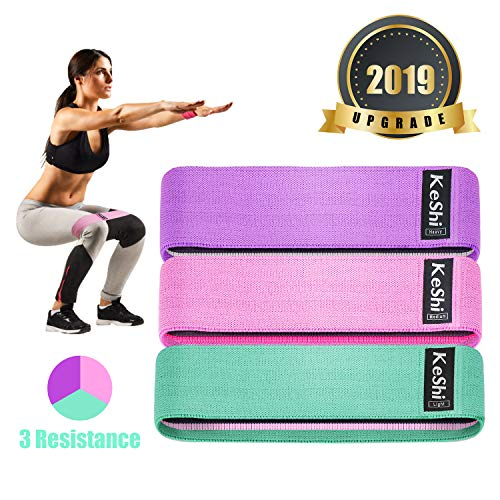 KeShi Fabric Resistance Band,3 Stretch Resistance Booty Bands for Legs and Butt, Non Slip Exercise Loops Activate Glutes and Thigh