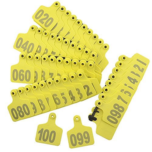 Product image of WMYCONGCONG 1-100 Number Plastic Livestock Cow Cattle Ear Tag Animal Tag Yellow and 1pcs Ear Tag Applicator