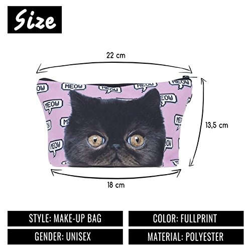 Kukubird Diversión Nueva Imagen Animal Patrón Grabado Neceser Con Bolsa De Polvo De Kukubird Meow Pixel Pink Cat