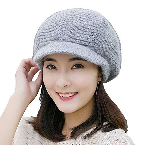 Flammi Women Knit Hat with Visor Warm Lined Snow Ski Cap Warm Beret Cap (Grey)