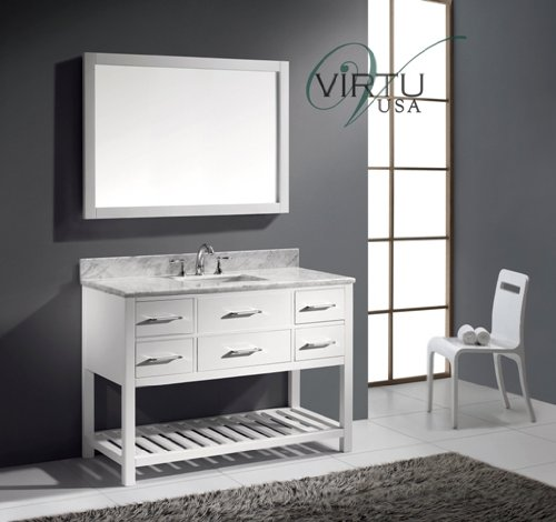 Virtu USA MS-2248-WMSQ-WH Transitional 48-Inch Single Sink Bathroom Vanity Set, White 48 Transitional Bathroom Vanity