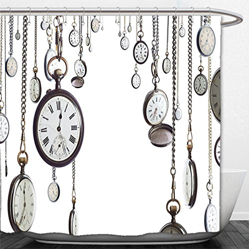 Interestlee Shower Curtain Antique Decor Collection Many Old Style Pocket Watch on Chain Clocks Chronometer Hours Antique Image White - Dc Hours Macy's