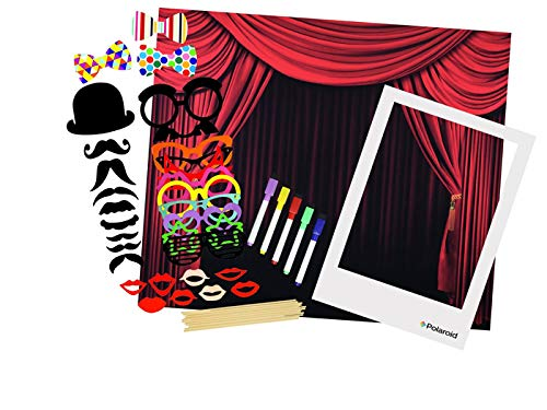 Polaroid All-In-One Photo Booth Kit - Includes Backdrop, Fun Photo Props, Markers & Oversized Polaroid-Styled Frame - Perfect for Parties, Family Affairs & Corporate Events -