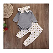 Efaster Cute Baby Boys Girls Bronze Love Trousers Romper Pants Headband 3PC Suit … (3M)