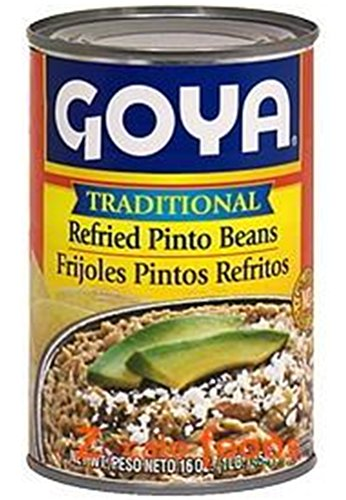 Goya Refried Beans - Goya Traditional Refried Pinto Beans 16oz | Frijoles Pintos Refritos 454g (PACK OF 01)