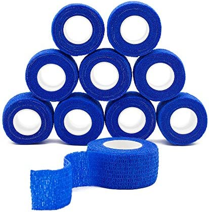 QiGui 10 Rollen Selbsthaftende Cohesive Bandage Haftbandage Verband Fixierverband Wasserfest Elastische Binde Pflasterverband Fingerpflaster 2.5cm X 4.5m